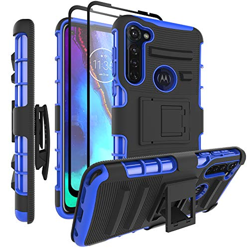 ChacXXLI Case with [2 Pack Tempered Glass Screen Protectors] for Moto G Stylus, Military Grade Protection Holster Belt Clip Case for Motorola Moto G Stylus (2020) - Blue