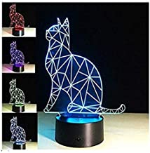 3D Cat Night Light 7 Color Change LED Table Desk Lamp Acrylic Flat ABS Base USB Charger Home Decoration Toy Brithday Xmas Kid Children Gift