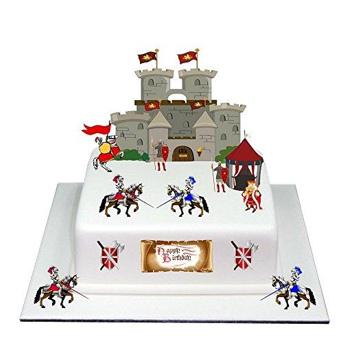 Mittelalterschloss mit Rittern aus essbarem Oblatenpapier, Kuchenaufsatz für Geburtstag, für Jungen und Mädchen