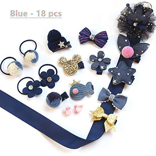 NFACE 18 stücke Geschenk Set Haarschmuck Baby Kleine Mädchen Haarspangen Bögen Krawatten Kleinkinder Haarspangen Haarnadeln Set Kopfschmuck Blau