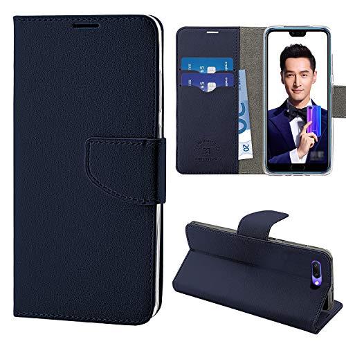 N NEWTOP Cover Compatibile per Huawei Honor 10, HQ Lateral Custodia Libro Flip Chiusura Magnetica Portafoglio Simil Pelle Stand (Blu)
