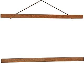 Fotos Magnético de madera marco de madera natural Picture Póster Artwork Lienzo Hanger para la decoración doméstica madera de teca 40cm Legno Di Teak