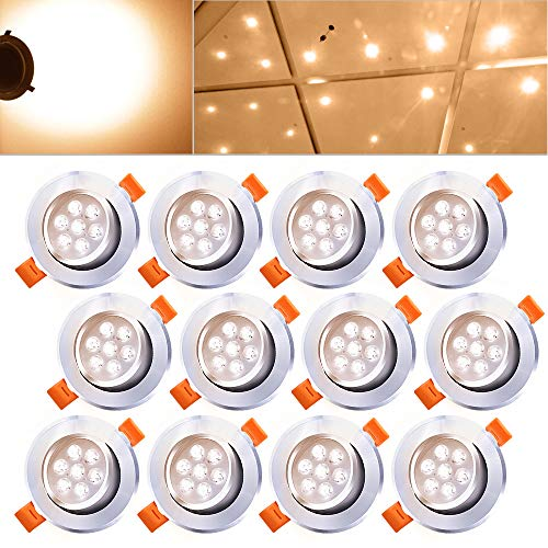 Hengda® 7W LED Einbauleuchte Warmweiß Wohnzimmer Decken Leuchte Lampe Spot Strahler Set 12 set IP44