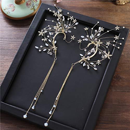 1pair bride ear hanging earrings brides headdress tassle flower hair decoration wedding hair accessories