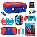 Accessories Kit Bundle for Nintendo Switch, YUANHOT Cover Case Hand Grip Controller Charger Steering Wheel Stand Carrying Case Game Card Case Compatible for Nintendo Switch (19 in 1)