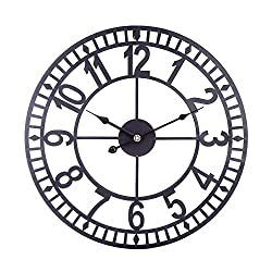 N /A Wall Clock 16 Inches 40cm Wrought Iron Arabic Numerals Silent Wall Clock Hollow Hanging Clock for Home Decor - Black