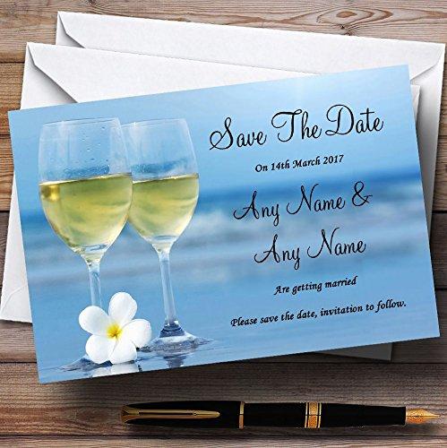 Bewaar de datumkaarten wijn op het strand gepersonaliseerd met enveloppen - elke aangepaste tekst voor elke gelegenheid 200 Cards & Envelopes