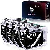 Wolfgray LC3211 LC3213 Cartuchos de Tinta Reemplazo para Brother LC3211 LC 3211 Compatible con Brother DCP-J572DW MFC-J491DW MFC-J497DW DCP-J772DW DCP-J774DW MFC-J890DW MFC-J895DW Impresora (4 Negro)