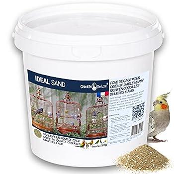 Chick'N Deluxe® Ideal Sand 5Kg. Sable Marin pour Fond de Cage à Oiseaux. Enrichi de coquilles d'huitres broyées et aromatisé à l'Anis. Produit 100% Naturel pour l'hygiène et la santé de Vos Animaux.