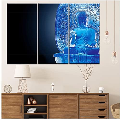 XIANRENGE Poster Canvas Painting Disaster-Defying Yanshou Pharmacist Buddha Wall Art Painting Modular Wallpapers Poster Print Home Decor -40x80cmx3 No Frame