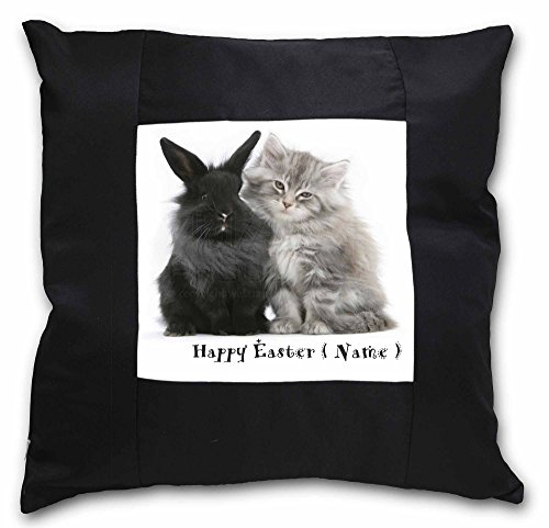 personalisierbar Kaninchen + Katze schwarz Bordüre Satin Feel Kissenhülle mit Kissen Einsatz