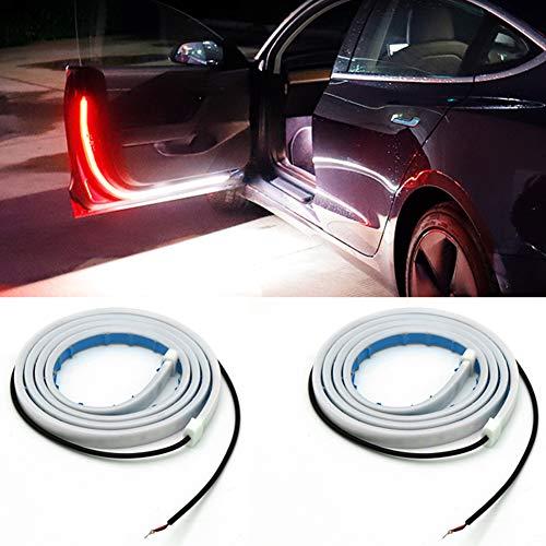 Kanuoc Led Car Door Strip Light Belt 1.2 Meter 144 LEDs Flashing Streamer Car Door Lights for Decoration, Lighting and Warning Anti Rear-end Collisions, White Lights Works As A Puddle Light