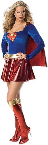Horror-Shop Sexy Supergirl Kostüm Kleid mit Cape und Stiefelstulpen, Helden Comic-Kostüm
