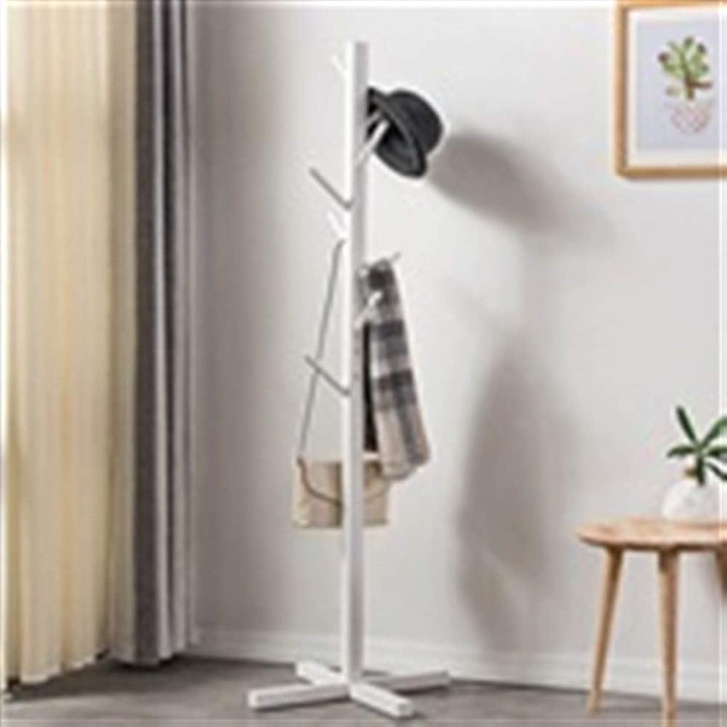 Simple Solid Wood Floor Coat Rack Stand Living Room Modern Clothes Rack Fashion Free Standing Hangers Bedroom Simple Storage Clothes Hook Hanger Size  165x50x50cm (color   White)