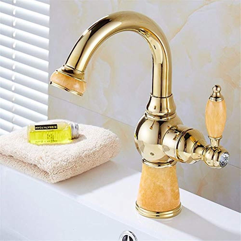 WMING Home Waschbecken-Mischbatterie Badezimmer-Küchen-Becken-Hahn auslaufsicher Wasser sparen heies und kaltes Gold Kupfer Rotation