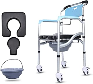 Deluxe Mobile Toilet with Footrests and Wheels, Adjustable Travel Wheelchair Waterproof Bath Chair Deodorant Bedside Toilet, The Best Gift for Parents