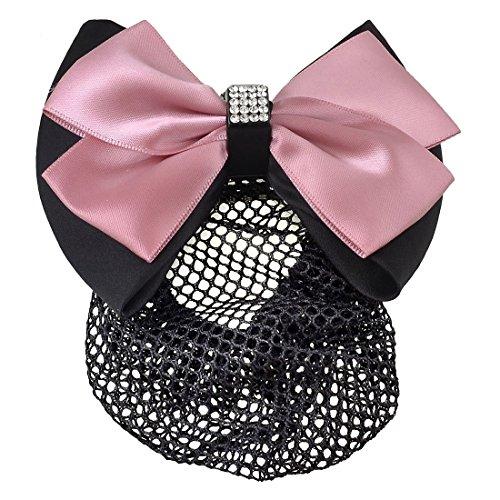 Rosallini Women Pink Black Ruffled Bowtie Decor Barrette Hair Clip Snood Net by Tayongpo