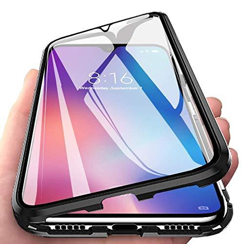 Yichxu Huawei P30 Lite Hülle Magnet, Magnetische Adsorption Handyhülle für Huawei P30 Lite, Einteiliges 360 Grad Gehärtetes Glas Schutzhülle Panzerglasfolie Durchsichtige Case Cover, Schwarz