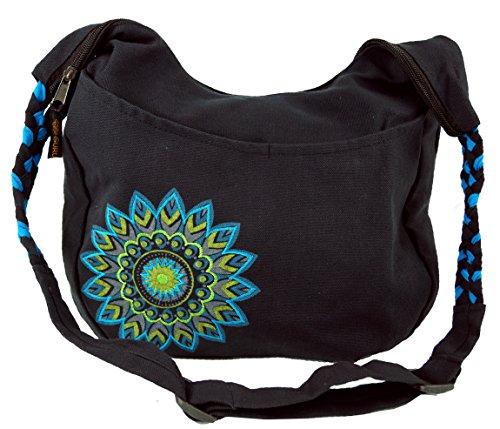 GURU SHOP Bolso Ethno Boho, Goa Bag Mandala - Negro/turquesa, Unisex - Adultos, Algodón, Tama�o:One Size, 26x33x5 cm, Bolsas de Hombro