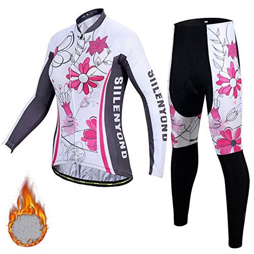Maillot Ciclismo Mujer Manga Largo y Pantalones Ajustados 3D Acolchado Forro Térmico de Lana Anti-Viento Invierno Otoño Primavera Men's Cycling Suits BC-20,D,M