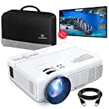 VANKYOMINI Leisure 3 Mini Projector & 100 inch Projector Screen, 1080P and 170'' Display Supported, Portable Movie Projector with 40,000 Hrs LED Lamp Life, Compatible with TV Stick, PS4, HDMI, VGA
