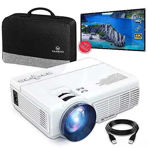 VANKYOMINI Leisure 3 Mini Projector & 100 inch Projector Screen, 1080P and 170'' Display Supported,...