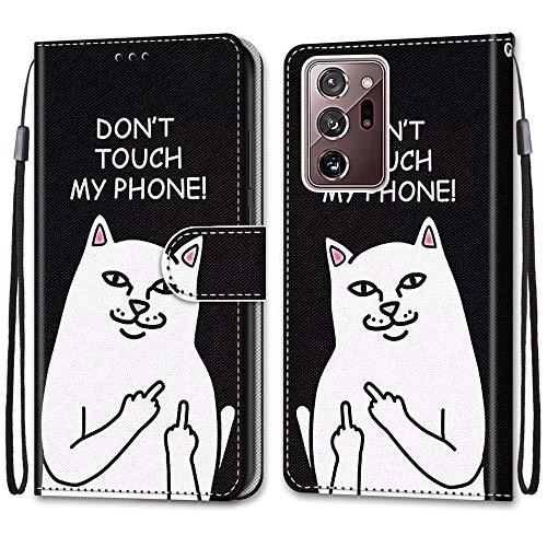 Nadoli Handyhülle Leder für Samsung Galaxy Note 20 Ultra,Bunt Bemalt Lustig Weiße Katze Trageschlaufe Kartenfach Magnet Ständer Schutzhülle Brieftasche Ledertasche Tasche Etui