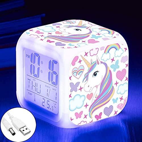 Kandice Unicorn Alarm Clocks for girs,7-in-1 Night Light Kids Alarm Clocks with LED Glowing Bedroom Wake Up Alarm Clock Gifts for Unicorn Room Decor for Girls Bedroom (Unicorn)
