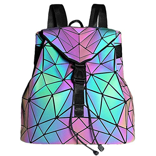 Suuran Geometrisch Rucksack Holographisch Rucksäcke-Leuchtend Gitter Tagesrucksack blitzen Reflektierend Schultertaschen für Frauen, NO.2