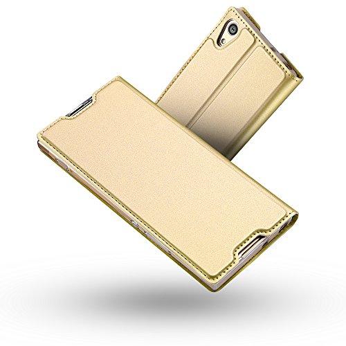 Radoo Sony Xperia XA1 Hülle, Premium PU Leder Handyhülle Brieftasche-Stil Magnetisch Klapphülle Etui Brieftasche Hülle Schutzhülle Tasche für Sony Xperia XA1 (Gold)