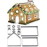 ZWOOS Moldes para Galletas de Navidad, 3D Cortador de Galletas de Forma de Casa de Pan de Jengibre