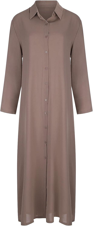 Trilanme Women V-Neck Cotton and Linen Solid Color Lapel Long-Sleeved Wide Skirt Pocket Long Shirt Dress