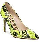 Sam Edelman Hazel Neon Yellow Snake Leather Stiletto Dress Pointy Toe Pump (7.5)