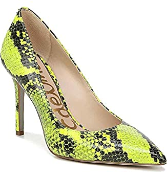 Sam Edelman Hazel Neon Yellow Snake Leather Stiletto Dress Pointy Toe Pump  8.5
