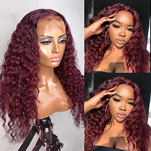 """Burgundy Lace Front Wigs Human Hair Colored 150% Density Thick 13x4x1 Lace Frontal Wig Virgin Hair Bleached Knots Pre Plucked Long 24"""" T Part Lace Front Wig #99 Color with Baby Hair for Whole Head"""