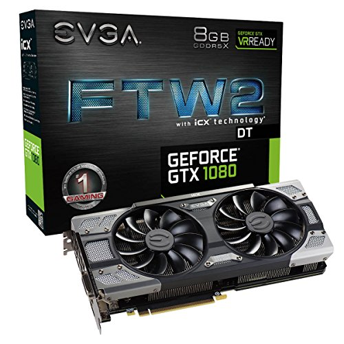 EVGA GeForce GTX 1080 FTW2 GAMING, 8GB GDDR5X, iCX Technology - 9 Thermal Sensors & RGB LED G/P/M, Aysnch Fan, Optimized Airflow Design Graphics Card 08G-P4-6686-KR