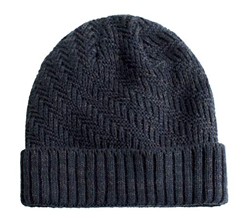 Home Prefer Mens Warm Winter Hat Knitted Fleece Lined Beanie Hat Thick Skull Cap Knit Ski Cap Navy Blue