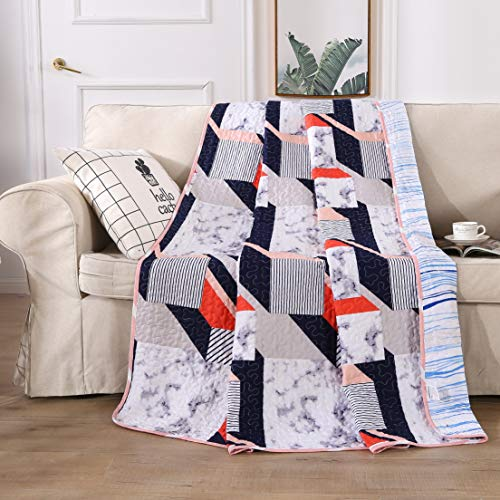 ENCOFT Tagesdecke Bettüberwurf Steppdecke Patchwork Bettdecke 2 seitig verwendbar Wohzimmer Kinder Jungen (150 x 200 cm, Weiß 2)
