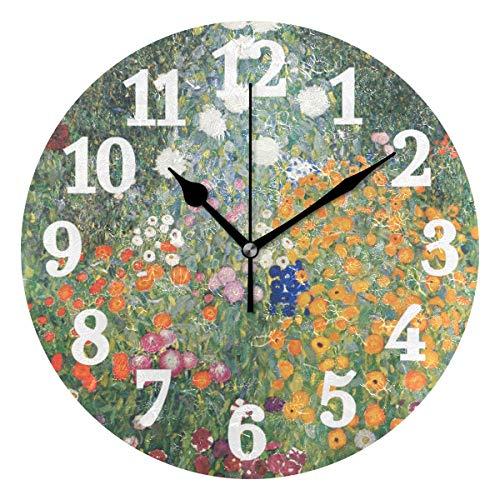 Ahomy Silent Runde Wanduhr Gustav Klimt Blume Garten Home Art Decor 25,4 cm Uhr für Wohnzimmer, Schlafzimmer und Küche