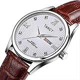 SWJM Verdadero Reloj de Pulsera Hombre de Negocios Impermeable Moda Muñeca Reloj de Cuarzo multifunción Cinturón Plateado Blanco marrón