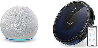 【セット買い】Echo Dot (第4世代) 時計付き グレーシャーブラック + Anker Eufy RoboVac 15C Max(ロボット掃除機)