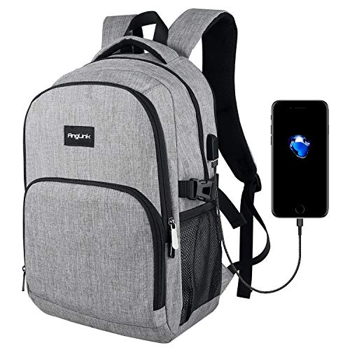 Laptop Backpack, Work Bag Lightweight Laptop Travel Bag with USB Charging Port, Anti Theft Business Backpack, Water Resistant School Rucksack Gifts for Men and Women, Fits 15.6 Inch Laptop-Grey