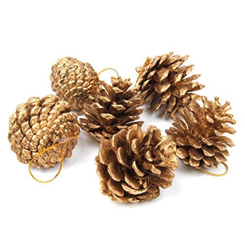 ULTNICE 12 Stück Neujahr Tannenzapfen mit String zum Aufhängen Neujahr Deko