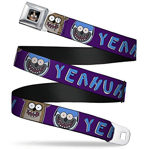 Buckle-Down Men's Seatbelt Belt Regular Show Kids, Rigby/Mordecai Faces c YEAHUH Purple/Blue, 1.0' Wide-20-36 Inches