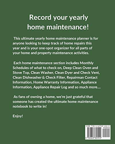Yearly Home Maintenance Check List: Yearly Home Maintenance - For Homeowners - Investors - HVAC - Yard - Inventory - Rental Properties - Home Repair Schedule