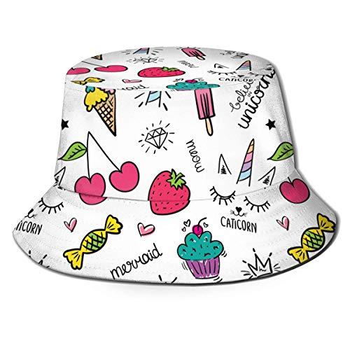 William Bacon Ice Candy Erdbeer Eimer Hüte Fischer Mütze Anti-UV Sonnenhut Unisex Breite Krempe Sommer Mütze Wandern Strand Sport 56-58cm