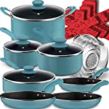 Dealz Frenzy 18 Pieces Pots and Pans Set, Induction Cookware Set with Silicone Cool Handles, Highly Wear-Resistant Multilayer Non-Stick Coating, Dishwasher Safe, PFOA Free, Easy Clean,Agave Blue