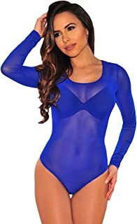 d58b2031e0 Kalin L Women Clubwear Long Sleeves Stretch Mesh See Through Jumpsuit  Bodysuit Top Leotard