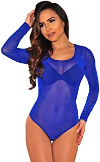 dc4956b901 Kalin L Women Clubwear Long Sleeves Stretch Mesh See Through Jumpsuit  Bodysuit Top Leotard