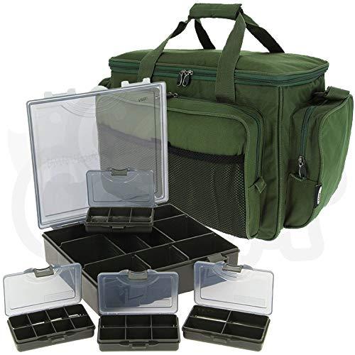 Grün Isoliert Carry All Sporttasche mit 4+1 Gerät Bit Boxset Karpfenangeln